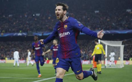 Barcelona's Lionel Messi celebrates a goal. Picture: @FCBarcelona/Twitter