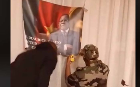 A screengrab of some of the protesters filmed invading Cameroon embassy in Paris.