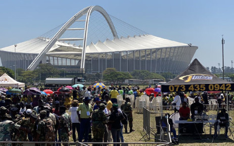 Jacob Zuma supporters at a prayer meeting organised by the Jacob Zuma Foundation in Durban on 14 October 2021. Picture: @DZumaSambudla/Twitter