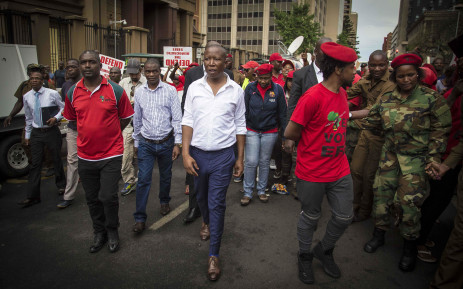 Julius Malema leaves the Pretoria High Court during President Jacob Zuma's bid to interdict the release of the State Capture report. Picture: Thomas Holder/EWN.