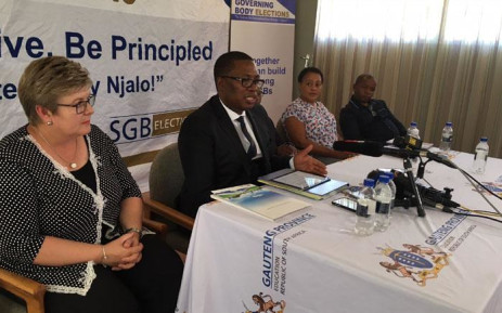 Education MEC Panyaza Lesufi addresses the media at Hoërskool Drie Riviere in Vereeniging on 12 March 2018 after a learner was caught on video throwing a book at a teacher. Picture: Ihsaan Haffejee/EWN