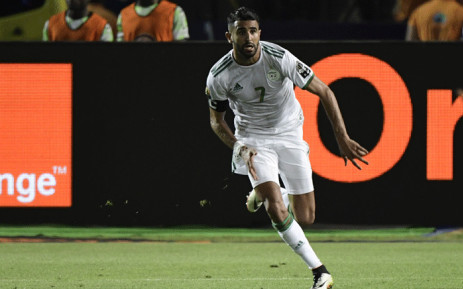 Algeria's forward Riyad Mahrez celebrates his winning goal during the 2019 Africa Cup of Nations (CAN) Semi-final football match between Algeria and Nigeria at the Cairo International stadium in Cairo on 14 July, 2019. Picture: AFP.