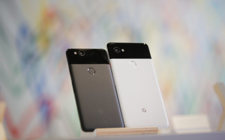 The new Pixel 2 and Pixel 2 XL smartphones are seen at a product launch event on 4 October, 2017 at the SFJAZZ Center in San Francisco, California. Picture: AFP