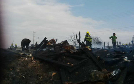 The blaze engulfed a home in Klerksdorp in which a man, woman and child died. Picture: Joburg EMS.