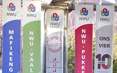 Banners hang at the University of Northwest campus. Picture: Facebook.