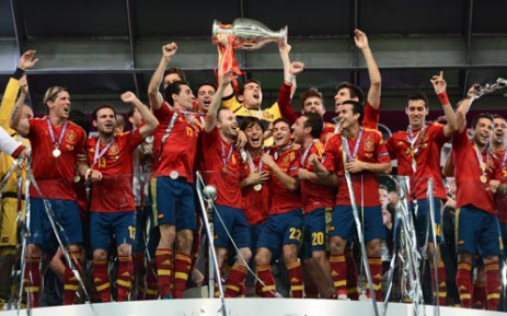 Spanish players celebrate after winning the Euro 2012 football championships final match Spain vs Italy on 1 July , 2012 at the Olympic Stadium in Kiev. Picture: AFP