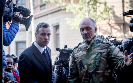 Convicted murderer Oscar Pistorius arrives for the third day of sentencing arguments in his murder trial on 15 June 2016. Picture: Reinart Toerien/EWN.