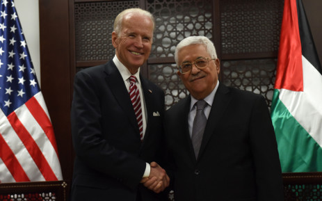US Vice Presicent Joe Biden and Palestinian president Mahmud Abbas shake hands following a meeting at the presidential compound in the city of Ramallah, in the West Bank, on 9 March, 2016. Picture: AFP.