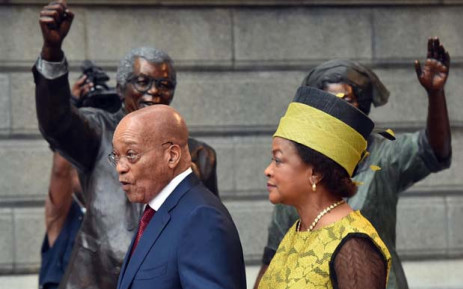 President Jacob Zuma and National Assembly Speaker Baleka Mbete outside Parliament ahead of State of the Nation Address in 2015. Picture: GCIS