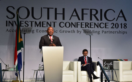 """FILE: President Cyril Ramaphosa delivers the keynote address at the Investment Conference 2018 held at the Sandton Convention Centre in Johannesburg under the theme, """"Accelerating Growth by Building Partnerships"""". Picture: GCIS"""