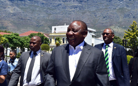 President Cyril Ramaphosa inspecting the state of readiness around Parliament ahead of his State of the Nation Address in the National Assembly. Picture: AFP