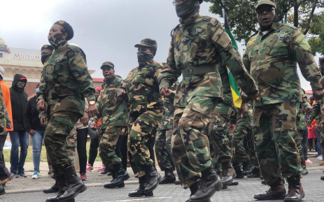About 300 members of Umkhonto WeSizwe Military Veterans Association arrived at the Gauteng Premier's Office to handover a memorandum during a protest against the ANC 'being replaced with colours that are different from the ANC that we came with from exile'. Picture: Twitter/@SAPoliceService