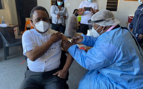 An older gentleman receives his COVID-19 vaccine shot on 17 May 2021. Picture: @GautengHealth/Twitter