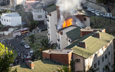 A Schotscheskloof apartment on fire on 6 January 2019 in Bo-Kaap, Cape Town. Picture: Justin George Leslie