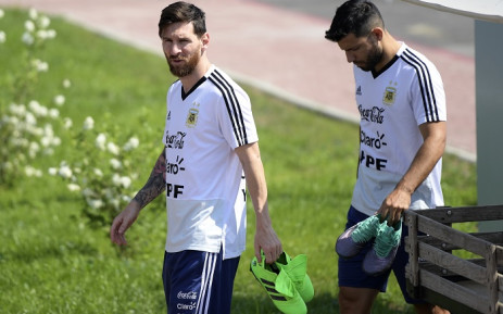 Argentina's forward Lionel Messi (C) and forward Sergio Aguero arrive for a training session at the team's base camp in Bronnitsy, on 23 June 2018, during Russia 2018 World Cup football tournament. Picture: AFP