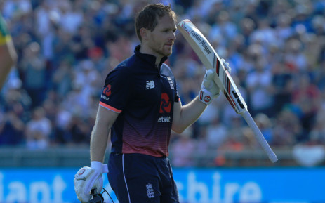 England's Eoin Morgan leaves the crease after losing his wicket to a catch by South Africa's Jean-Paul Duminy off the bowling of South Africa's Chris Morris during the first One-Day International between England and South Africa at Headingley in Leeds on 24 May, 2017. Picture: AFP
