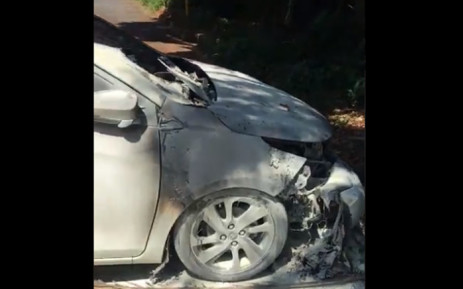 A video screengrab of a student's vehicle set alight during protests at UKZN's Howard College campus on 29 January 2020.