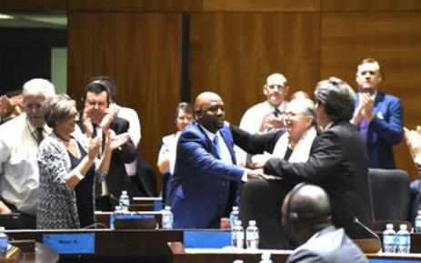 City of Tshwane mayor-elect Stevens Mokgalapa celebrates following his election as executive mayor on 12 February 2019. Picture: DA