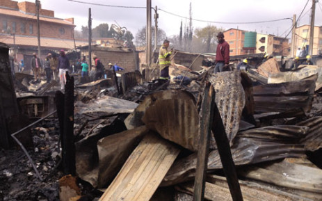 At least 50 shacks have caught fire in the informal settlement north of Johannesburg. Picture: Christa van der Walt/EWN