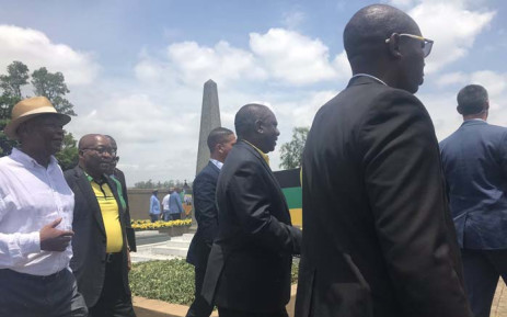 President Cyril Ramaphosa and former President Jacob Zuma at a wreath-laying ceremony outside Durban on 8 January 2019 for founding ANC leader Langalibalele Dube. Picture: EWN
