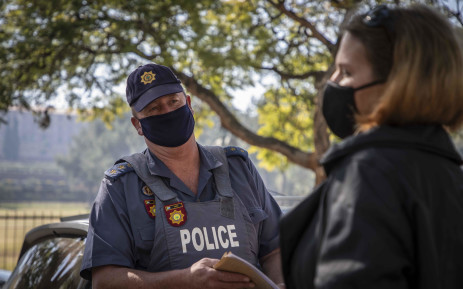 Police in Pretoria tell supporters of the national protest against the tobacco ban that they are not allowed to protest during lockdown. Picture: Abigail Javier/EWN