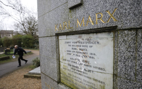 The marble plaque showing damage from recent vandalism on the front of the tomb of German revolutionary philosopher Karl Marx, a Grade I-listed monument, is seen in Highgate Cemetery in north London on 5 February 2019. Picture: AFP
