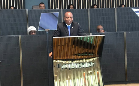 Johannesburg Mayor Herman Mashaba addresses councillors during his state of the city address on 30 April. Picture: Thando Kubheka/EWN.
