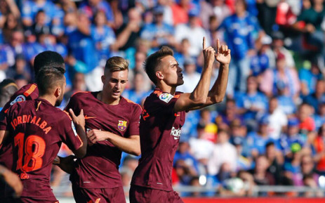 Barcelona players celebrate scoring their second goal against Getafe CF. Picture: @DenisSuarez6.