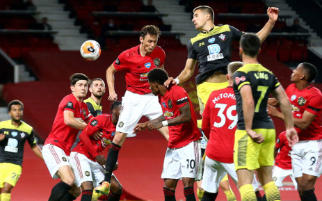 Southampton's Jan Bednarek has an attempt on goal during the English Premier League match against Manchester United on 13 July 2020. Picture: @SouthamptonFC/Twitter