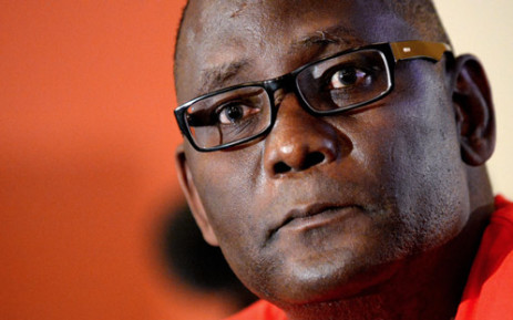 The suspended boss of South Africa's largest labour union federation Cosatu Zwelinzima Vavi holds on 16 August, 2013 a press conference in Joahannesburg. Picture: AFP.