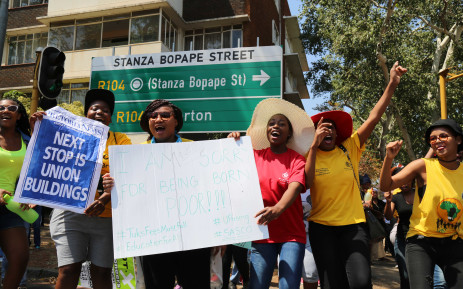 Students going to the Union Buildings during the Fees Must Fall protest in 2015. Picture: Christa Eybers/EWN.