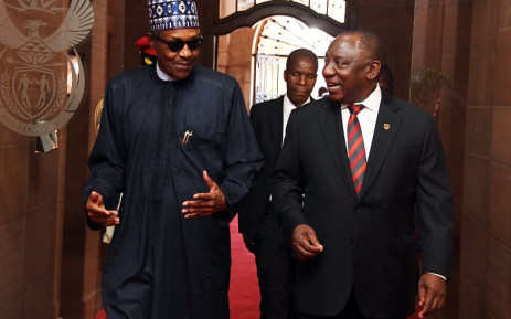 Nigerian President Muhammadu Buhari (L) and President Cyril Ramaphosa at the Union Buildings in Tshwane on 3 October 2019. Picture: @PresidencyZA/Twitter