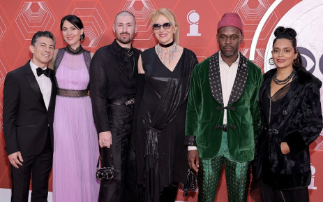 """Peter Hylenski, Suzanne Hylenski ,Catherine Zuber, and Sahr Ngaujah of """"Moulin Rouge! The Musical"""" attend the 74th Annual Tony Awards at Winter Garden Theater on September 26, 2021 in New York City. Picture: Jamie McCarthy/Getty Images for Tony Awards Productions/AFP"""