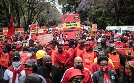 FILE: Striking Cosatu members in Pretoria on 7 October 2020. Picture: Abigail Javier/Eyewitness News.