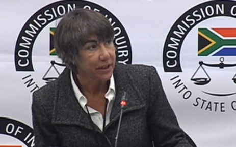 A screengrab fo Helen Walsh appearing at the Zondo commission of inquiry into state capture on 10 July 2019.