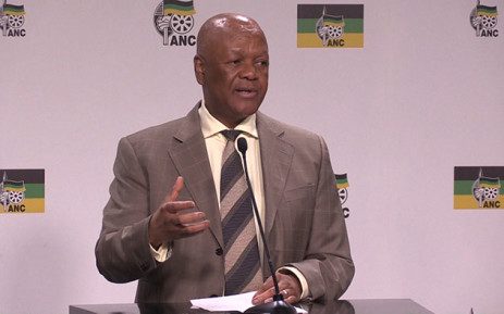 ANC Policy Head Jeff Radebe during a press briefing at the party's Luthuli House headquarters, Picture: Vumani Mkhize/EWN.