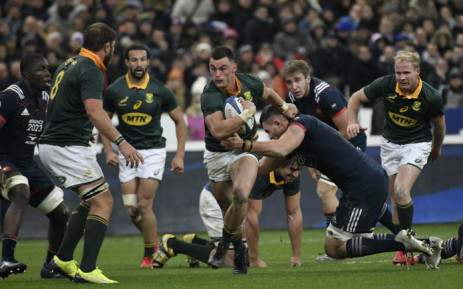 Springbok centre Jesse Kriel (C) runs with the ball during the Test match between France and South Africa at The Stade de France Stadium, in Saint-Denis, on the outskirts of Paris, on November 18, 2017. Picture: AFP