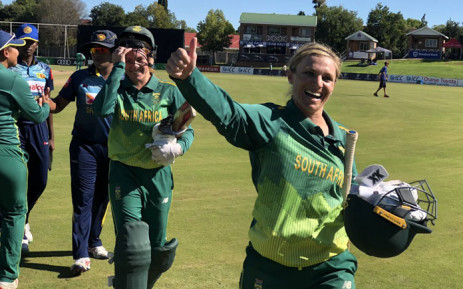 South Africa's Mignon du Preez celebrates her side's ODI series win over the Sri Lanka women's on 17 February 2019. Picture: @OfficialCSA/Twitter