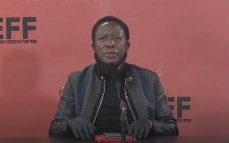 A YouTube video screengrab of EFF leader Julius Malema speaking to journalists 25 June 2020 in Johannesburg.