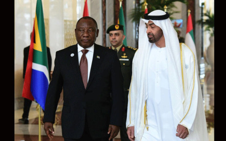 President Cyril Ramaphosa meets United Arab Emirates leader Khalifa bin Zayed Al Nahyan in Abu Dhabi on 13 July 2018. Picture: Qaanitah Hunter/EWN