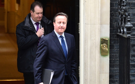 British Prime Minister David Cameron leaves Downing street to make a statement at the Houses of Parliament on 11 April, 2016 in London. Picture: AFP.