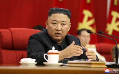 This picture taken on 17 June 2021 and released from North Korea's official Korean Central News Agency (KCNA) on 18 June 2021 shows North Korean leader Kim Jong Un attending the third day sitting of the 3rd Plenary Meeting of the 8th Central Committee of the Workers' Party of Korea in Pyongyang. Picture: STR/KCNA VIA KNS/AFP