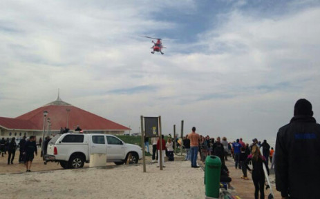 The victim of a shark attack at Muizenberg beach on Friday afternoon has been airlifted to hospital and is in a stable condition. Picture: Zain Johnson.