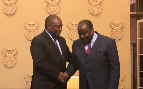President Cyril Ramaphosa congratulates new Finance Minister Tito Mboweni on 9 October 2018. Picture: @SAgovnews/Twitter