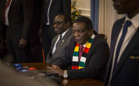 President-elect Emmerson Mnangagwa addresses the press on his election, the use of the army against his own people, and the way forward, at State House, Harare. Picture: Thomas Holder/EWN