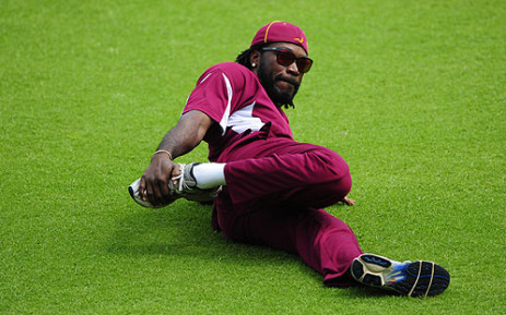 FILE: West Indies cricketer Chris Gayle stretches during a practice session in Dhaka. Picture: AFP