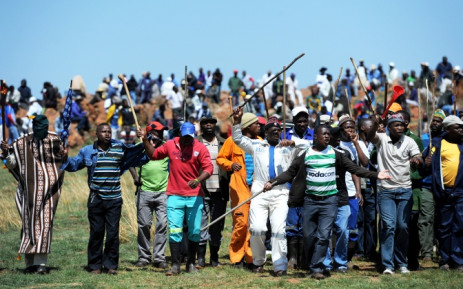 Amcu-affiliated miners demonstrate in Marikana on the platinum belt in the North West where a strike in the sector has run since January. Picture: Sapa.