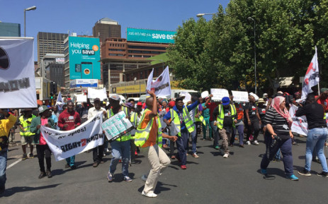 Members of the Right2Know Campaign protest in the Johannesburg CBD on 28 September 2016. Picture: Masego Rahlaga/EWN.