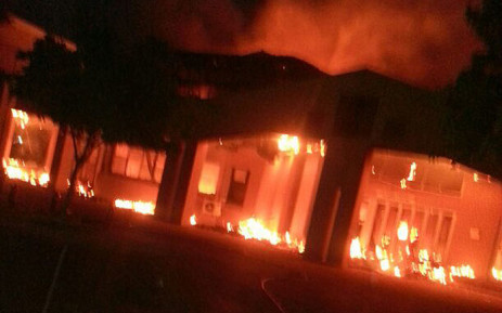 Several buildings were set alight at the North West University in Mafikeng. Picture: @PaidaSaurombe via Twitter.
