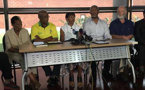 ANC stalwarts speaking the ANC Elders press briefing. Picture: Abigail Javier/EWN.